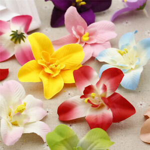 30/50 Pcs Cloth Orchid Bulk 3in Artificial Fake Flower Heads Wedding Home Decor