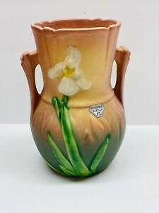 """Vintage Roseville Pottery Double Handled Orange Iris Floral Vase 917-6"""""""