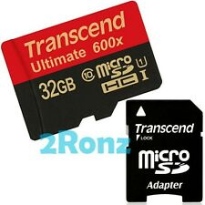 Transcend 32GB 32G UHS-I 600X Micro SDHC SD Flash Card Mobile Class 10 U1 90MB/s