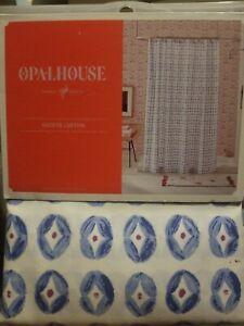 Opalhouse Coin Medallion Fabric Shower Curtain blue 72x72 new #3925