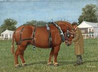 GENTLEMAN WITH SHIRE HORSE AT SHOW Gouache Painting A. J. BARNARD - 20TH CENTURY