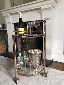 Rose Gold Drinks Trolley with 2 Tiers 30's Art Deco Home Bar Cart