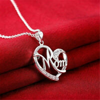 Unique Heart Shape Design Mom Crystal Pendant Necklace Mother's Day Gift Jewelry