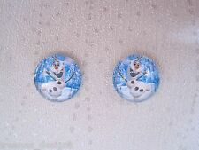 Domed Glass Stud Earrings Sp Gift Xmas Blue Snowman Skating on Frozen Ice 14mm