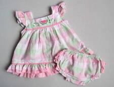 Petit Ami Girls 6 Mo Pink Green Seersucker Watermelon Ruffled Bloomer Set EUC