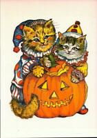"POSTCARD-VICTORIAN CATS- ""HALLOWEEN"" 1987 EVELYN GATHING ILLUSTRATION  BK19"