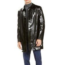 Tallia Mens Coat Black Size Large L Faux Fur Pleather Slim Fit Rainwear $425 258