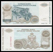 Croacia - Croatia-Serbian Krajina 100 Millones Dinara 1993  Pick R-25  SC = UNC