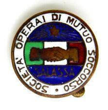 Distintivo Società Operai Di Mutuo Soccorso Salassa (L. Fassino Torino) cm 2
