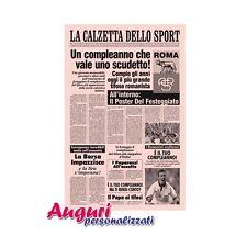 Biglietto auguri giornale compleanno di un romanista quotidiano regalo umoristic