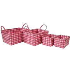 Girls Pink Tapered Set of 4 Toy Storage Waste Paper Baskets With Handles