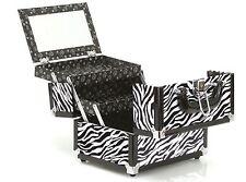 new caboodles train case makeup cosmetic organizer crave zebra storage mirror