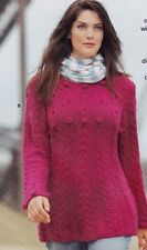 LADIES/WOMANS LONG SWEATER WITH CABLES/BOBBLES KNITTING PATTERN SIZE 14-16 (S/1)