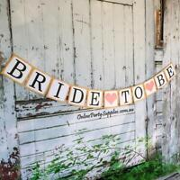 DIY Rustic Bride To Be Banner Bridal Shower Garland Wedding Bachelorette Bunting