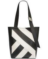 Calvin Klein Karsyn Studded Leather Tote Black&White Msrp:$268
