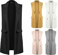 Ladies Sleeveless Duster Coat Blazer Jacket Womens Smart Waistcoat Jacket Top