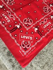 "Vintage NOS Levi's Cowboy Bandana 21""X22"" Made in USA Wash Fast Turkey Red!!!"