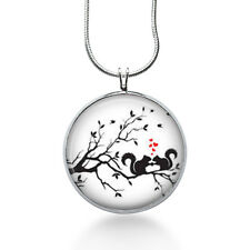Squirrel Silhouette Necklace- woodland,nature, forest,tree branch, squirrels