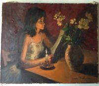 Marc REBIERRE(1934) Beau Portrait au Bouquet de Fleurs Huile sur toile signée