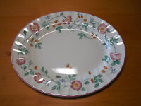 "Churchill Staffordshire England BRIAR ROSE 12"" Oval Serving Platter Pink Floral"