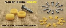 10 x CAR NUMBER PLATE FITTING FIXING SCREWS AND CAPS – YELLOW