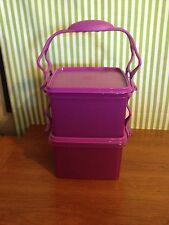 NEW Tupperware Carry All 2-pc Set Cariolier Purple