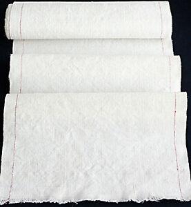 Ballen altes  handgewebtes Leinen mit schmalem roten Seitenstreifen * 385 x 34 *