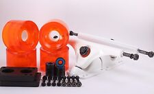 70mm 78a Clear Orange Longboard Wheels and White Reverse Kingpin Truck Combo Set