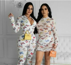 🦋 NWT 🦋 LARGE BUTTERFLY WHITE MULTI JUMPSUIT,ROMPER,CLUBWEAR,STRETCH,MASK,SET