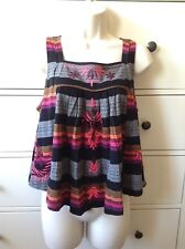 FREE PEOPLE Anthropologie NEW BOHO Black COMBO Sleeveless Trapeze Top Shirt