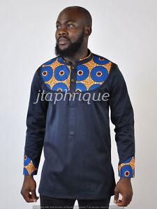 African mix polish cotton and ankara shirt for men