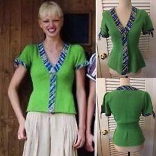 ANTHROPOLOGIE HWR Green Beatriz Monogram Bookbinder Cardigan Sweater Top Size M