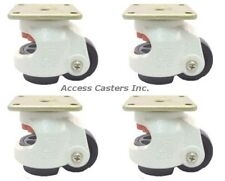 """3P80F4 Set of 4, 3"""" Leveling Caster, Square Top Plate, Nylon Wheel, 2200 lbs"""