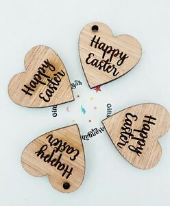 Easter Gift Tags Heart Tokens Hug Friends Family Crafts Engraved Happy or Hoppy