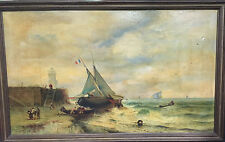 Grand Tableau Breton Peinture Marine huile sur toile XIXeme  Phare- Marthe Dédié