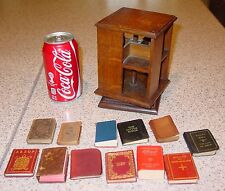 Antique miniature salesman sample rotating oak bookcase miniature books---15405