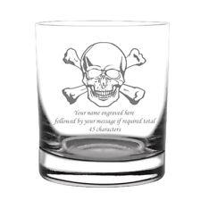 More details for pirates whisky rum glass skull cross bones sea ship boat captain gift engraved