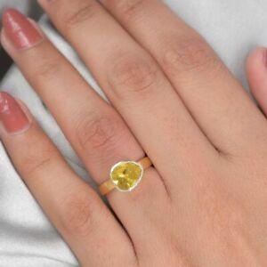 TJC natürliche Gelb Diamant Verlobung Solitär Ring für Frauen Sterling Silber