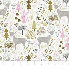 Fabric 100% Cotton Camelot Hello My Deer Woodland Long Quarter
