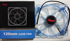 NEW Rosewill RFA-120-BL - 120mm Computer Cooling Fan with LP4 Adapter - Blue