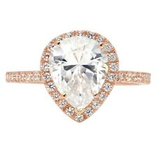2.45ct Pear Cut solitaire Engagement Bridal Ring Halo 14k Rose Gold Bridal band