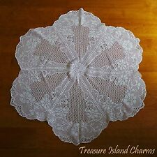 ROUND WHITE CROCHET DOILY LACE TABLE CLOTH WITH SPRING FLOWERS 100% Cotton 36""