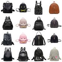 Women Leather Backpack Girl College School Shoulder Bag Travel Rucksack Satchel
