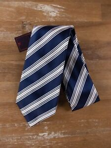 ISAIA Napoli 7-fold blue striped silk tie authentic - NWT
