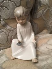 Lladro Nao Figurine Boy With A Book And Candle Excellent Condition