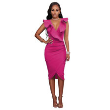Sexy Women's Ruffles V-Neck Ruched Cocktail Club Evening Party Bodycon Dress