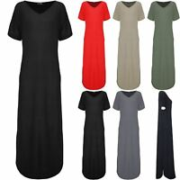 Womens Ladies V Neck Maxi Long Dress Casual Loose Side pockets Side Split Kaftan