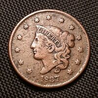 1837 Coronet Head Large Cent, Head Of 38 1838 - Fine F Details