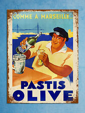 vintage retro style Pastis olive poster image metal sign wall door plaque