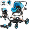 Luxury Baby Stroller 3 in 1 Pram Foldable Pushchair Car Seat Travel System